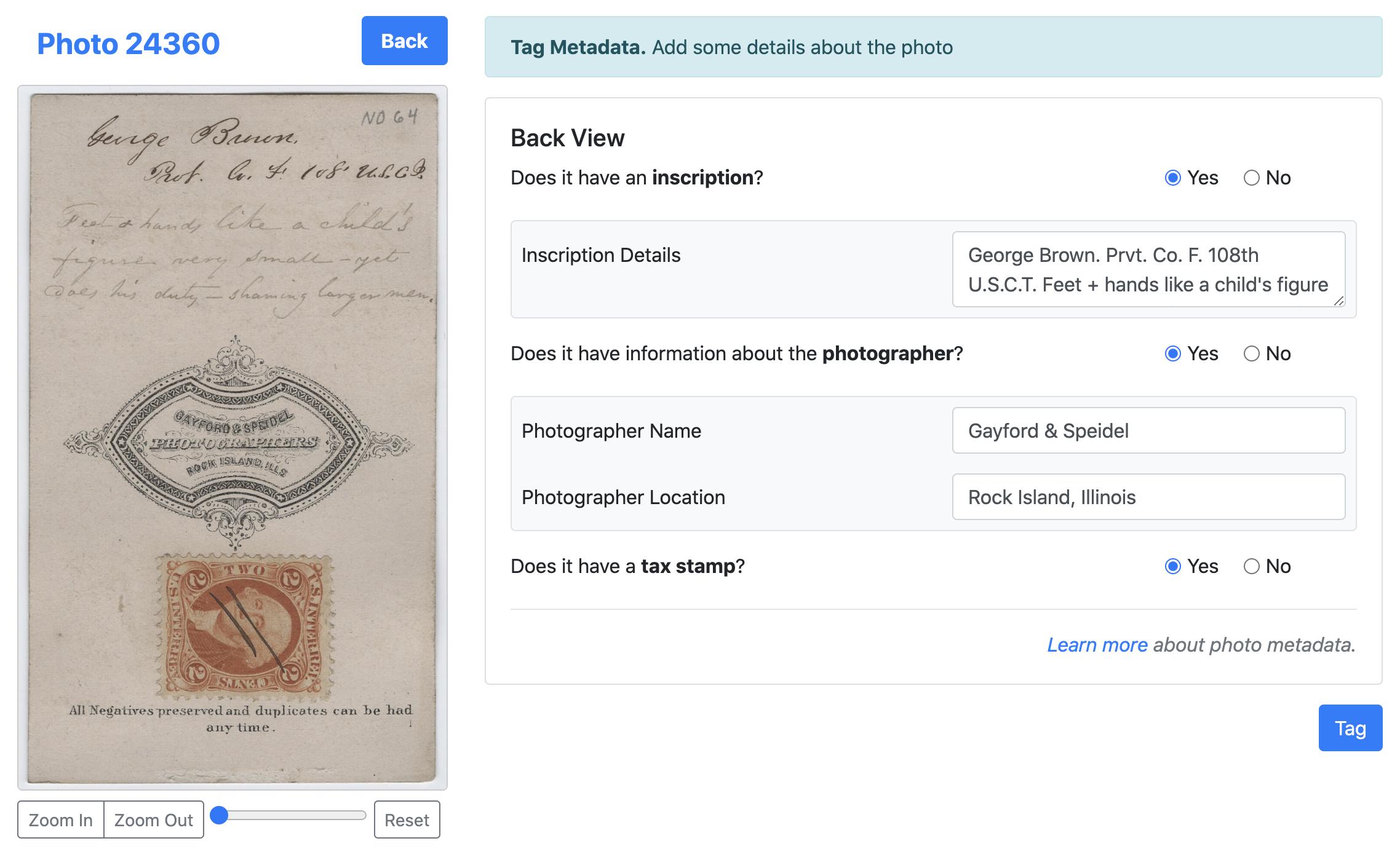 Metadata (Back View)